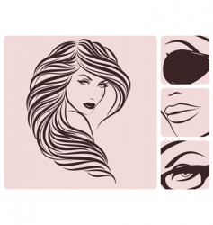 long curly hairstyle vector image