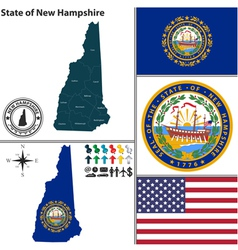 Map of New Hampshire with seal vector image vector image