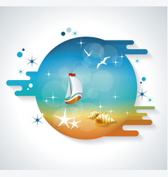 seaside view poster background vector image
