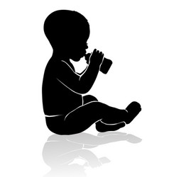 silhouette baby sitting drinking from baby bottle vector image vector image