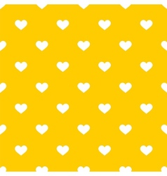 Tile cute pattern with white hearts on yellow vector image vector image