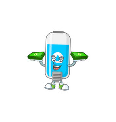 A cheerful wall hand sanitizer mascot design vector