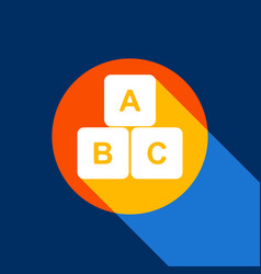 abc cube sign white icon on vector image