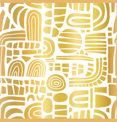 abstract gold foil mosaic shapes on white seamless vector image