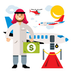 airport landing on flight flat style vector image