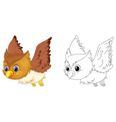 animal outline for owl flying vector image