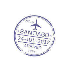 arrived santiago visa stamp isolated arrival sign vector image