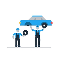 Auto repair shop workers in uniform with car check vector