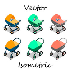 baby carriages in isometrics in different angles vector image