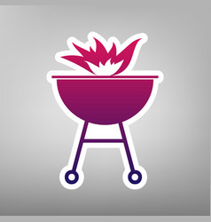 Barbecue with fire sign purple gradient vector