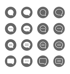 Basic speech bubble shape icons set vector