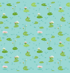 beautiful seamless pattern with water lilies vector image