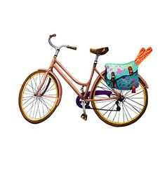 Bike Baguette and Bag vector image