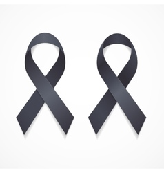 Black Ribbon Mourning and Melanoma Sign Set vector