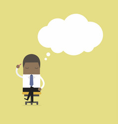 businessman is thinking while sitting on the chair vector image