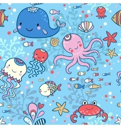 Cartoon marine seamless pattern vector image