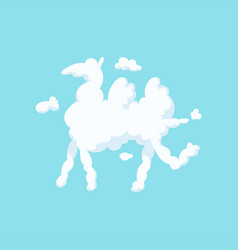 Cartoon silhouette camel white fluffy cloud in vector