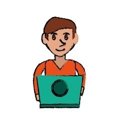 Cartoon young man working green laptop design vector