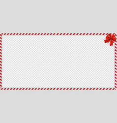 christmas new year rectangle candy cane frame vector image