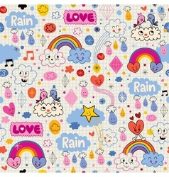 Clouds rainbows birds rain love hearts pattern vector