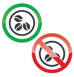 Coffee permission signs vector