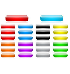 colored 3d glass buttons vector image