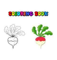 coloring book turnip cartoon icon design isolated vector image