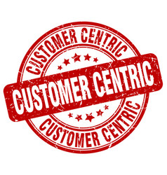 Customer centric red grunge stamp vector