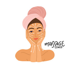 cute girl in towel preparing to do massage vector image