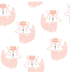 Cute little fox seamless pattern vector
