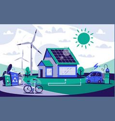 eco house cartoon flat vector image