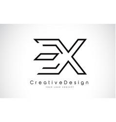 Ex e x letter logo design in black colors vector