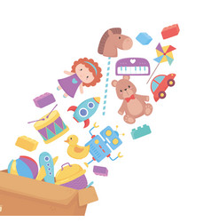 Falling toys in cardboard box object for small vector