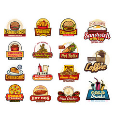 Fast food drinks desserts and burgers icons vector