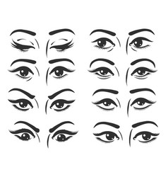 female eyes expressions set vector image