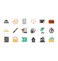 Finance money business economy icons set vector