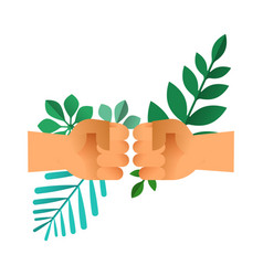 Fist bump hands with green leaf for nature help vector