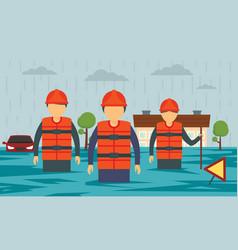 Flood concept banner flat style vector