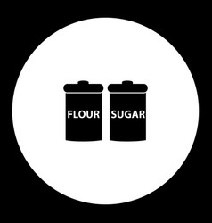 Flour and sugar simple black and green icon eps10 vector
