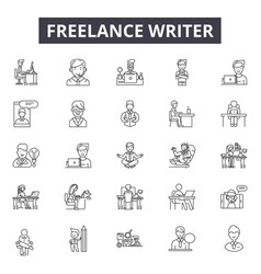 Freelance writer line icons signs set vector