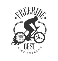 freeride best bike extreme vintage label black vector image
