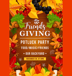 Friendsgiving potluck party of thanksgiving day vector