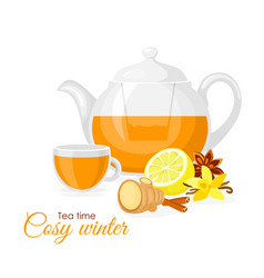 ginger and lemon cup of tea vector image