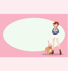 Girl and dog on easter day with copyspace vector