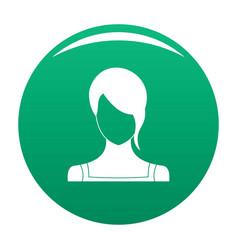 Girl avatar icon green vector