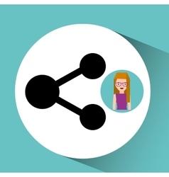 Girl cartoon share icon design vector