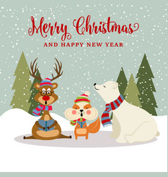 gorgeous chritmas card with reindeer squirrel and vector image