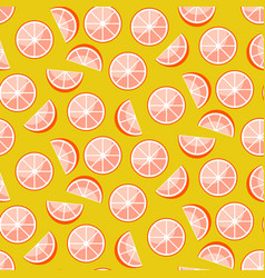 grapefruit slices on yellow background citrus vector image