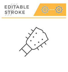 guitar editable stroke line icon vector image