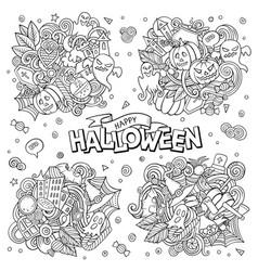halloween cartoon doodle set vector image